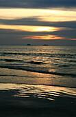 Beach on uninhabited island at sun set, Mergui Archipelago, Andaman Sea, Myanmar, Burma, Asia