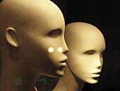 Alien, Aliens, Close up, Close-up, Closeup, Color, Colour, Concept, Concepts, Dehumanization, Dummies, Dummy, Extraterrestrial, Extraterrestrials, Head, Heads, indoor, indoors, interior, Lifeless, Lifelessness, Light, Mannequin, Mannequins, Pair, Reflecti