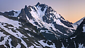 Afterglow over NE face of Mount Shuksan 9131 feet, 2783 meters with view of the Price Glacier, North Cascades Washington