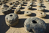 Stone mills, ruins of the town of Numancia (Numantia), Roman section. Near Garray, Soria province, Castile-Leon, Spain