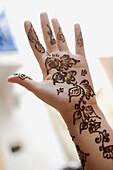 Henna on feminine hand, Essaouira, Morocco