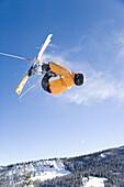 Man in ski jump, Near Sun Valley, Idaho, USA.