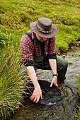 Prospecting for gold in the Leadhills near Wanlochhead Ayrshire Scotland