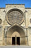 Monasterio de Sant Cugat del Vallés Monastery, Siglo XII, XIV century, Romanesque, Gothic, Spain, Catalunya, Catalonia, Barcelona, Sant Cugat del Valles, Valles West Arc, Gate, Entry, rosettes.