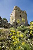 Castle keep, Zahara de la Sierra. Pueblos Blancos (white towns), Cadiz province, Andalucia, Spain