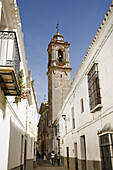 Street and church of Santo Domingo de Guzman, Bornos. Pueblos Blancos (white towns), Cadiz province, Andalucia, Spain