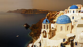 Blue, Churches, Crater, Domed, Greece, Island, Of, Oia, Oía, Santorini, Thera, Thira, Town, N45-764379, agefotostock