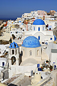 Blue, Churches, Domed, Greece, Island, Oia, Oía, Santorini, Thera, Thira, Town, N45-764412, agefotostock