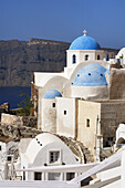 Blue, Church, Domed, Greece, Island, Santorini, Thera, Thira, N45-764418, agefotostock