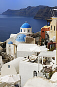 Blue, Church, Crater, Domed, Greece, Island, Of, Santorini, Thera, Thira, N45-764420, agefotostock