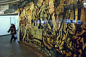 Murals depicting the construction of The Metro at Komsomolskaya, Moscow, Russian Federation