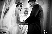 Adult, Adults, b&w, black-and-white, Bridal couple, Bride, Bridegroom, Bridegrooms, Brides, Caucasian, Caucasians, Ceremonies, Ceremony, Church, Churches, Contemporary, couple, couples, Dress, Dressed up, Dresses, Elegance, Elegant, female, grin, grinning
