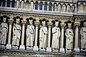 Detail of Notre Dame cathedral façade, Paris, France