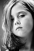 Angry, b&w, black-and-white, Blue eyed, Blue eyes, Blue-eyed, Brown hair, Brown haired, Caucasian, Caucasians, Chestnut hair, Child, Children, Chubby, Close up, Close-up, Closeup, Contemporary, face, faces, Facing camera, Female, Girl, Girls, headshot, he
