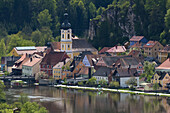 Kallmuenz, medieval market town at the river Naab, baroque parish church, townhouse and  private townhouses, Jurassic mountains, Upper Palatinate, Bavaria