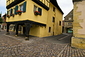 Old framework house, cobblestone, medieval townscape, Rouffach, Alsace, France