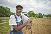 Sammy Hoke, of North St  Louis talks about his gardening effort along Hanley Rd  Airport land along North Hanley Road is under the plow again  Several local men have been tending garden plots on the land for years until they were banished last month