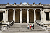 France. Paris. Visitors on the staircase of rear entrance of Musee de la Mode et du Costume Palais Galliera. The museum shows the history of fashion from the 18th to 20th century.