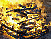 fire preparation for the ancient tradition of step-fire in San Pedro Manrique (Soria). Spain