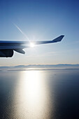 View through airplane window to Rocky Mountains, Oregon, USA
