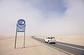 Coastal fog on sand dunes near Swakopmund, Namibia, Africa