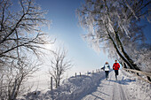 Couple jogging in winter, Muensing, Bavaria, Germany