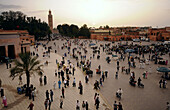 Crowd on the Place Jemaa el-Fna in the evening, Marrakesh, South Morocco, Morocco, Africa