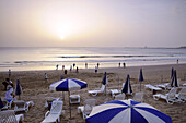 People on the beach at sunset, Agadir, South Morocco, Morocco, Africa