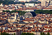 Panoramic view from Viewpoint of Notre Dame de Fourviere hill,Hotel de Ville, Opera,   Lyon, Rhone Alps,  France