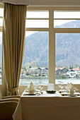 Restaurant Villa am See, view towards Rottach-Egern, Upper Bavaria, Bavaria, Germany