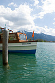 Boat on Lake Tegernsee, Upper Bavaria, Bavaria, Germany