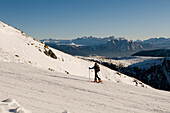 Man on an alpine ski tour, ski touring, back country skiing equipment, Reinswald Skiing area, Sarn valley, South Tyrol, Italy