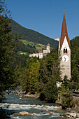 Castle and church, Sand in Taufers, Tauferer Tal, South Tyrol, Italy