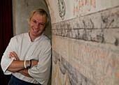 Chef Chris Oberhammer in his restaurant, Restaurant Tilia, Vintl, South Tyrol, Italy