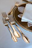 Detail of forks and plates, restaurant Trenkerstube, Hotel Castel, Dorf Tirol near Meran, South Tyrol, Italy