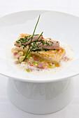 Codfish with calf's head risotto, Gourmet restaurant Überfahrt, chef Christian Juergens, Rottach-Egern, Lake Tegernsee, Upper Bavaria, Bavaria, Germany
