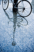 bicycle, bicycles, bike, bikes, biking, Color, Colour, Concept, Concepts, cycle, cycles, Daytime, detail, details, exterior, Ground, Grounds, Lamp post, Lamp posts, Melancholy, Mirror image, Mirror images, outdoor, outdoors, outside, Pavement, Pavements,