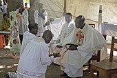 SOUTH SUDAN  Saint Josephs Feast day May 1st being celebrated by Catholic community in Yei  Consecrating the altar