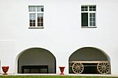 Serbia. Vojvodina Region-Novo Hopovo. Wagon Detail at Novo Hopovo Orthodox Monastery