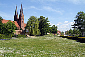 D, Germany, Europe, Brandenburg, Uckermark, Neuruppin, Promenade, Spring, Springtime, Church, Monastery, Monastery Church, St  Trinitates
