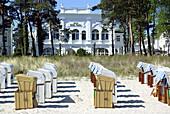 D, Germany, Europe, Mecklenburg Western Pomerania, Rügen, Ruegen, Baltic Sea, Binz, Promenade, Boardwalk, Building, Buildings, Architecture, Hotel, Beach, Beach Chair, Beach Chairs, Holiday Flat