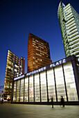 D, Germany, Europe, Berlin, Capitol, Potsdamer Platz, Potsdam Place, Main station, Building, Buildings, night, nighttime, Sunset, Offices, Architecture, Illumination, Skyscraper