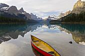 Canoe, Lake Maligne near Jasper, Jasper National Park, Alberta, Canada