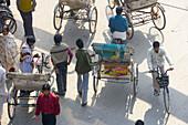 Cycle Rickshaws from above, Varanasi, India