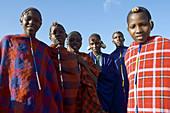 Young Maasai initiates. Masai Mara, Kenya, Africa