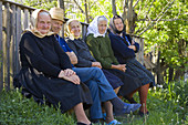 Group of elderly villagers, Maramures, Romania