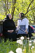 Elderly ladies chatting on bench, Maramures, Romania