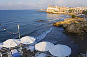 Cafe/Restaurant and beach . Sitges. Barcelona province. Spain