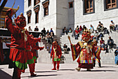 At the many monastery festivals in Ladakh the victory of Buddhism over other evil religions is beiing told Danvers perform their ceremonys ba waering big wooden masks