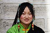 Tibetan gril in Thanka festival